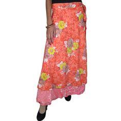 Mogulinterior Womens Sari Wrapskirt Double Layer Orange Printed Reversible Silk Long Skirts