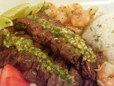 Little Lady, Big Appetite!: Churrasco (skirt steak) & Shrimp Chimichurri