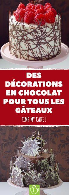 Des décorations en chocolat pour tous les gâteaux. Pimp my cake ! #déco #décoration #gateau #dessert #chocolat #fondu #anniversaire #recette