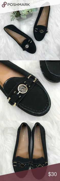 1aad67719b2f Tommy Hilfiger suede driving loafers with logo Black Tommy Hilfiger suede  driving loafers with logo hardware at vamp. Heels  N A Condition  Very good