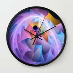 Cyclone of feelings, colourful fractal abstract Wall Clock