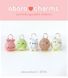 I've been really obsessed with Sumikko Gurashi lately, so I finally made some charms of these little guys. Polymer clay, acrylic paints and glaze.