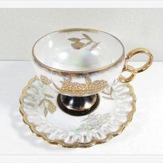 #Vintage #RoyalSealy #TeaCup and Saucer Black Gold Flowers Iridescent Reticulated Border #gotvintage #vintagetea #etagereantiques