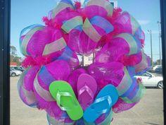 Decorative Summertime Flip Flop Wreath. $40.00, via Etsy.