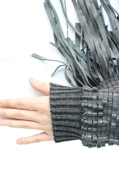 Innovative woven sleeve detail with knitted cuffs; experimental textiles for fashion // Natalie Hitchon Knitwear Fashion, Knit Fashion, Fashion Fabric, Style Fashion, Textile Manipulation, Fabric Manipulation Techniques, Weaving Textiles, Textile Fabrics, Textile Texture