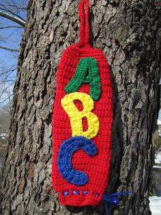 Crocheted Plastic Bag Holder Red ABCs by crochetedbycharlene, $20.22