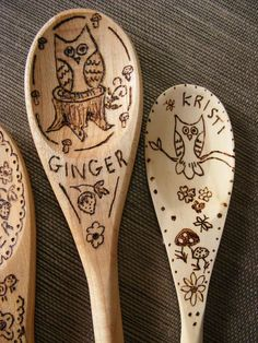 So cute, have the kids draw in pencil on wooden spoons then trace over with a wood burning tool. cute x-mas gifts for the grandparents craft-ideas