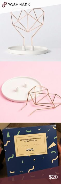 IMM Coxet Wire Heart Ceramic Jewelry Holder New in box, from the FabFitFun box, rose gold IMM Other