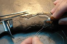 carving a knife handle, floral patterns, wire inlay