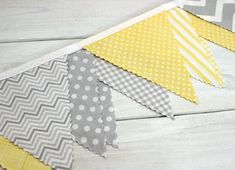 shower Window Nurseries - Fabric Banner Bunting, Baby Nursery Decor, Baby Shower Banner Light Yellow and Gray Dots.