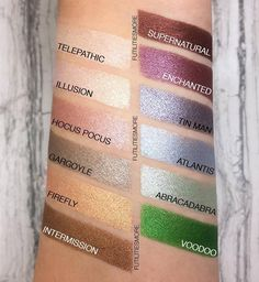 Swatches by FutilitiesMore using Makeup Geek Foiled Pigments in Telepathic, Illusion, Hocus Pocus, Gargoyle, Firefly, Intermission, Supernatural, Enchanted, Tin Man, Atlantis, Abracadabra, and Voodoo.
