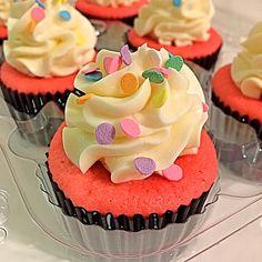 Pink Satin Confetti Cupcakes