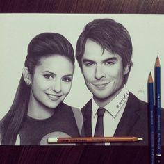 "@_artistiq on Instagram: ""Drawing of my favorite celeb couple NIAN! ❤ @ninadobrev @iansomerhalder"""