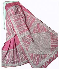 Pink Kantha-Work Silk-Stitch-Saree-----------saree looks fabulous on the backdrop of an authentic Indian background. This saree indeed is a piece of art . -----Sarees from luxurionworld.com