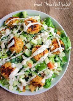"Greek ""Meat""ball Salad by joandsue.blogspot.com"