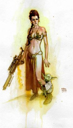 Princess Leia and Yoda  by ~Andrew-Robinson