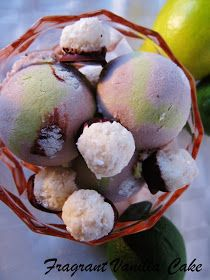 Fragrant Vanilla Cake: Raw Lime in the Coconut Ice Cream (coconut ice cream with lime swirl, and macaroons)