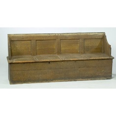 Grain-Painted Bench with Storage Compartments,
