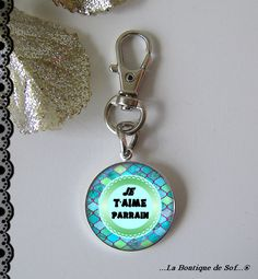 Porte-clés avec son cabochon 25mm, parrain (010816) : Porte clés par la-boutique-de-sof