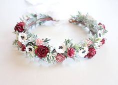 Bridal Flower Crown Floral Headpiece by MoonflowerNatureArt