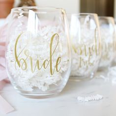 New items up in the shop! You can now get a full set of 4 stemless wine glasses for your special day (or bachelorette)! Eek! Don't worry, for all you ambitious brides, you can add on more bride tribe glasses a la carte