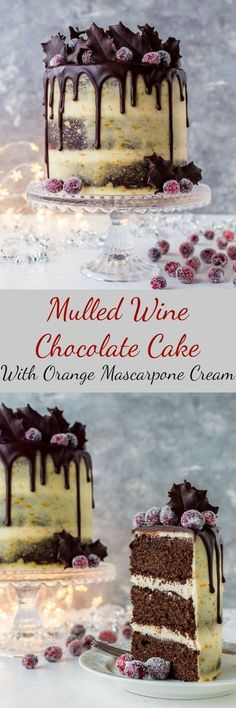 Mulled wine chocolate cake with orange mascarpone. #Christmas #Yule #desserts
