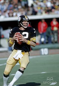 Pittsburgh Steelers quarterback (12) Terry Bradshaw in action against the Dallas Cowboys at Three Rivers Stadium.