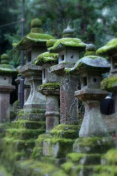 "Mossty lanterns, at Japanese shrine. ""This photo was taken on January 6, 2011 in Nara-shi, Nara Prefecture,"" Japan."