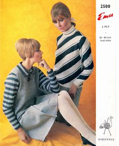 Free Patterns : Fair Isle and Colourwork 4 – Sixties Mod jumpers – Vintage Knitting Pattern Archive Knitting Patterns Free, Knit Patterns, Vintage Patterns, Free Knitting, Free Pattern, Sixties Fashion, Stocking Tights, Polo Neck, Color Stories
