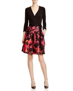 Diane von Furstenberg Jewel Mixed Media Wrap Dress