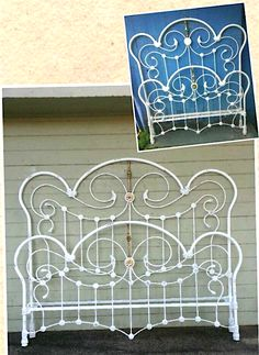 Beautiful French Curve style in the double and after the conversion to king size. Vintage Beds, King Size, Primitive, Decorating Ideas, Iron, Brass, Rooms, French, Interior Design