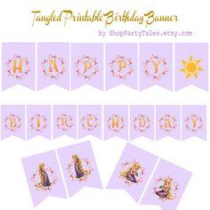 Tangled Disney Princess Rapunzel Printable Happy Birthday Banner by ShopPartyTales