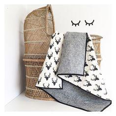 Modern Baby Quilt-Woodland Quilt-Wholecloth Quilt-Buck-BlackandWhite