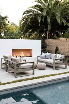 A Mediterranean Inspired Design Have you ever really thought about how many people see the outside of your home? Outdoor Fireplace Designs, Backyard Fireplace, Modern Outdoor Fireplace, Modern Outdoor Living, Contemporary Outdoor Fireplaces, Outdoor Areas, Outdoor Rooms, Outdoor Decor, Outdoor Pool Furniture