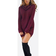 Yoins Burgundy Sexy High Neck Long Sleeves Knit Thin Casual Dress ($18) ❤ liked on Polyvore featuring dresses, yoins, long sleeve knit dress, purple dress, sexy dresses, short dresses and long sleeve mini dress