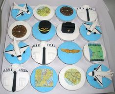 Pilot Cupcakes by specialcakes/tracey, via Flickr #pilotcake Planes Birthday, Planes Party, Airplane Party, Airplane Cakes, Birthday Cakes, Aviation Wedding, Aviation Theme, Retirement Cakes, Retirement Parties