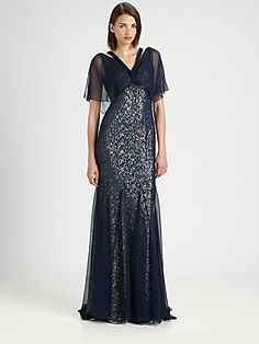 Badgley Mischka Sequined Silk Chiffon Gown. - wish it came in white