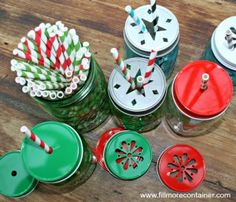 Mason Jar Christmas Straws Lids Jars - for all of your Holiday gatherings! Gift Guide and 2 Giveaway!