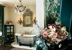 English country manor: Claw foot tub, antique chandelier and wall sconces, the Venetian mirror above the tub and the curtains made from the queen of Italy's court train exude femininity and romance.