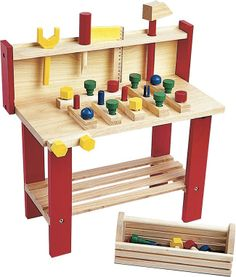 For future handy men and women, this wooden work bench comes with lots of bells and whistles. Lots of screws to tighten, nails to pound and tools to organize!  Available at Dilly Dally Kids.