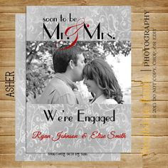 We're Engaged Photo Card 5x7 PRINTABLE by CreativelyCutebyLisa, $6.75