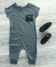 Heather Grey Patch Romper, Hipster Baby Clothes, Kids Fashion, Toddler Boy Clothes, Trendy Baby Clothes, Baby Romper