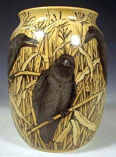 Crow in the Corn Vase ~ Hand Painted Pottery by Nan Hamilton in Boston MA