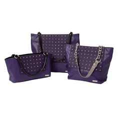 Miche Studio for Classic, Demi & Prima bags - Crackle patterned purple faux leather with pyramid stud detailing on purple piecing; silver hardware #handbags #michefashion #fallfashion