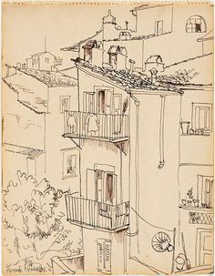 Frank Hodgkinson(Australian, 1919-2001) Florence 1947 pen and brown ink on cream wove paper from a sketchbook