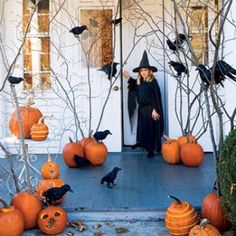 Simply place pumpkins around your front porch and decorate them by inserting branches cut from your own yard. Top them off with a few fake black raven birds and you can create a very fun entrance to your home.
