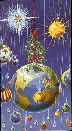 Pre-cursor to the disco ball: 435 Mid Century Modern Planets Sputnik Vintage Christmas Greeting Card Modern Christmas Cards, Christmas Graphics, Noel Christmas, Retro Christmas, Vintage Holiday, Christmas Greeting Cards, Christmas Pictures, Christmas Greetings, Holiday Cards