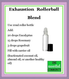 exhaustion essential oil blend made with eucalyptus, rosemary and grapefruit… Doterra Essential Oils, Natural Essential Oils, Young Living Essential Oils, Essential Oil Diffuser, Essential Oil Blends, Natural Oils, Essential Ouls, Roller Bottle Recipes, Doterra Oils