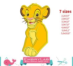 Applique Simba. The Lion King. Machine Embroidery Applique Design. Instant Digital Download (16309) by EmbryLab on Etsy