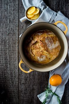 Meyer Lemon Rosemary Bread is an easy, no-knead bread you can make in a Dutch oven at home. This fragrant bread smells so incredible and looks like it came from a bakery! Rosemary Bread, Lemon Bread, Meyer Lemon Recipes, Dutch Oven Bread, No Knead Bread, Sourdough Bread, Bread And Pastries, Easy Bread, Artisan Bread